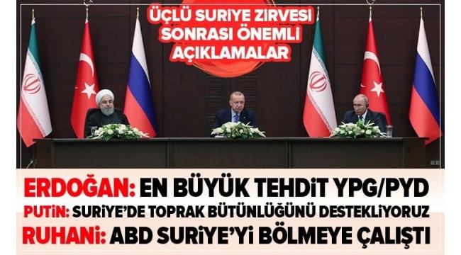 Son dakika:Ankara'daki üçlüSuriyezirvesi sona erdi! Başkan Erdoğan, Putin ve Ruhani'den ortak açıklama.