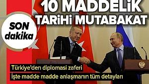 Son Dakika: Başkan Erdoğan ve Putin Soçi'de mutabık kaldı..