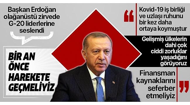 Başkan ErdoğanG20'de liderlere seslendi:Hiçbirimizin korumacı ve tek taraflı politikalar uygulama lüksü yoktur.